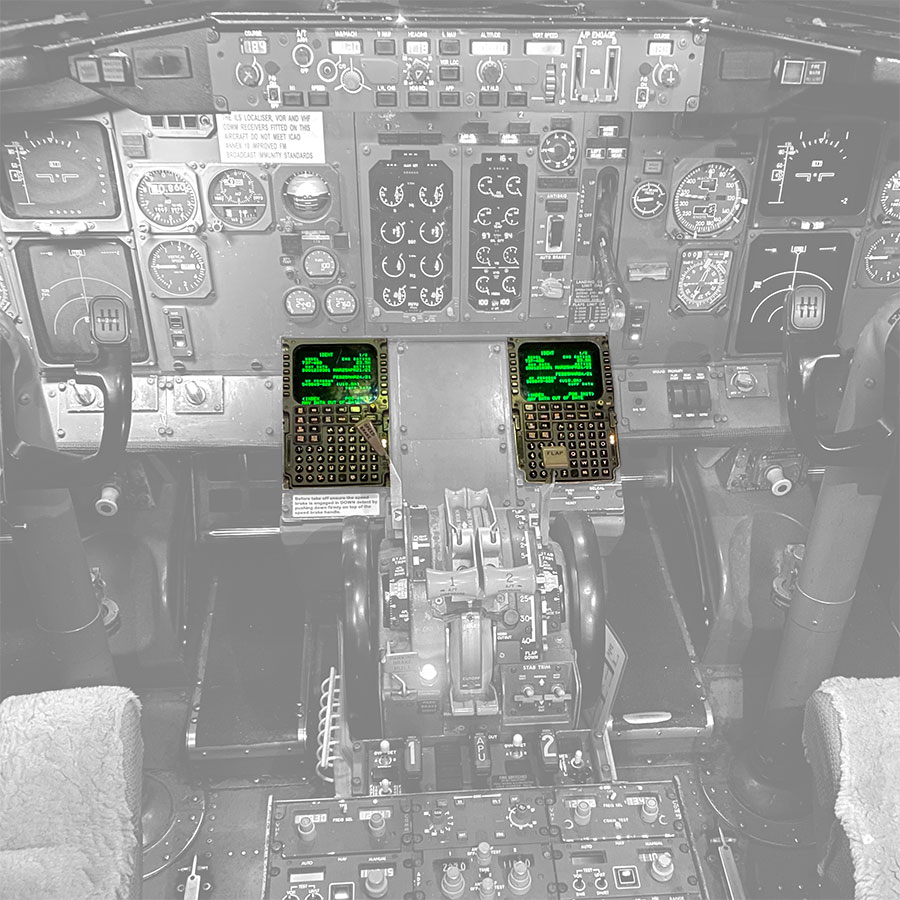 A greyed out photo of a cockpit highlighting the Controller Pilot Data Link Communications (CPDLC).