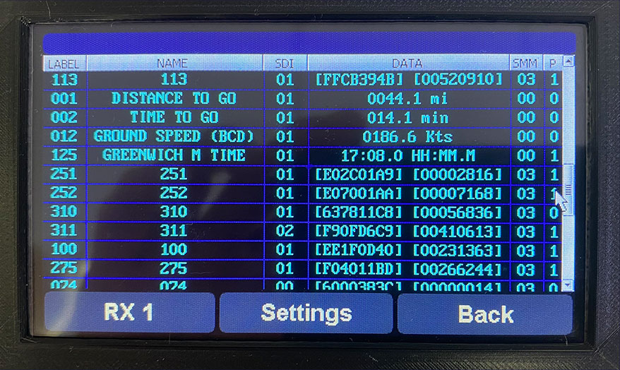 Close-up of the touch screen on the Data Wizard Data Integrator Tool.